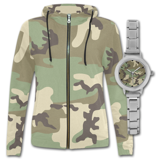 Camouflage Women Hoodie and Camouflage Watch